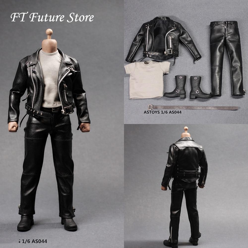 "1//6 Scale Male Black Leather Long Coat Button Clothes Modle For 12/"" Figure Toys"