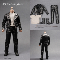 AS044 1/6 Scale Male Black Leather Coat Suit Clothes Shoes Accessories Model For 12'' Action Figure Body Accessory