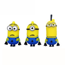 Mini carino minion USB Flash Drive Bastone Pendrive 8GB 16GB 32GB 64GB 128GB 4GB 2.0 Pen Drive di Memoria Flash(China)