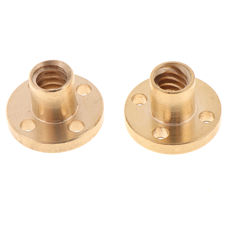 T8 Trapezoidal Nuts 8mm Part Copper Screws For Stepper Motor Lead Screw Diameter 10mm Pitch 2mm Brass 3D Printers Parts Guide