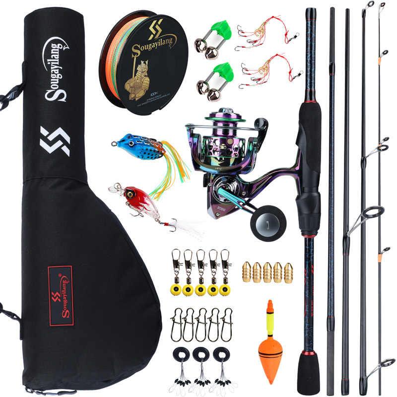 Sougayilang набор катушек для спиннинга, 1,8-2,4 м, с приманкой, леской и сумкой для переноски рыбы, для путешествий, рыбалки на открытом воздухе