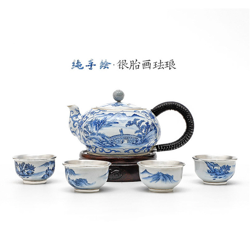 Master Hand-painted Silver Tire Painting Enamel Sterling Silver Tea Set Sterling Silver 999 Handmade Kung Fu Tea Set Silver Pot