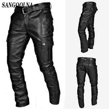 Steampunk Motorbike Style Side Lace Up Leather Pants Black Gothic Punk Jeans Cowboy Biker Rock Reenactment Trouser For Men 1