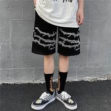Harajuku homens shorts streetwear ferro padrão corrente jogger shorts verão solto cintura elástica hip hop skate shorts