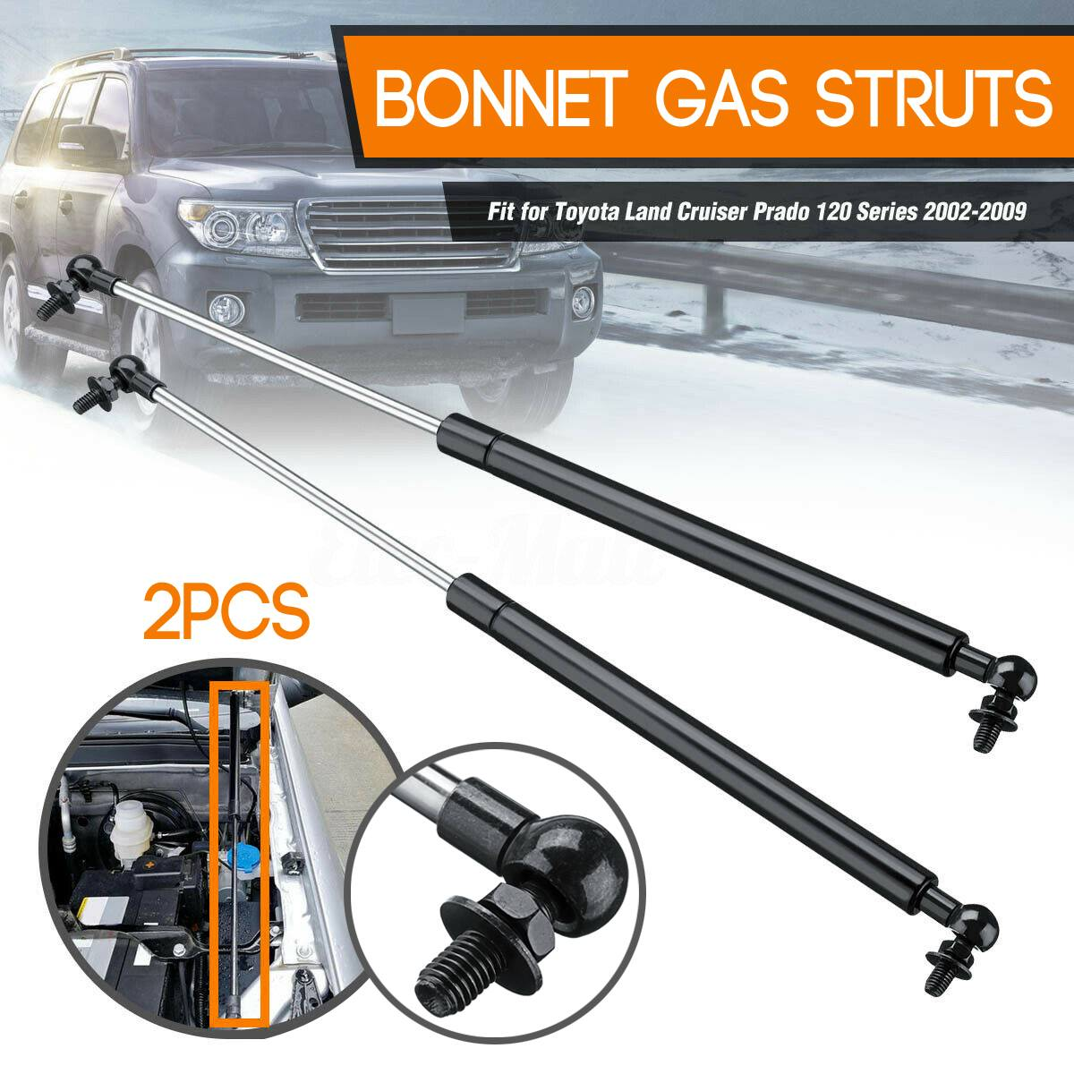 2Pc Car Hood Struts Bonnet Gas Lift Support Damper Fits for Toyota Landcruiser Prado 120 Series 2002-2009 475MM
