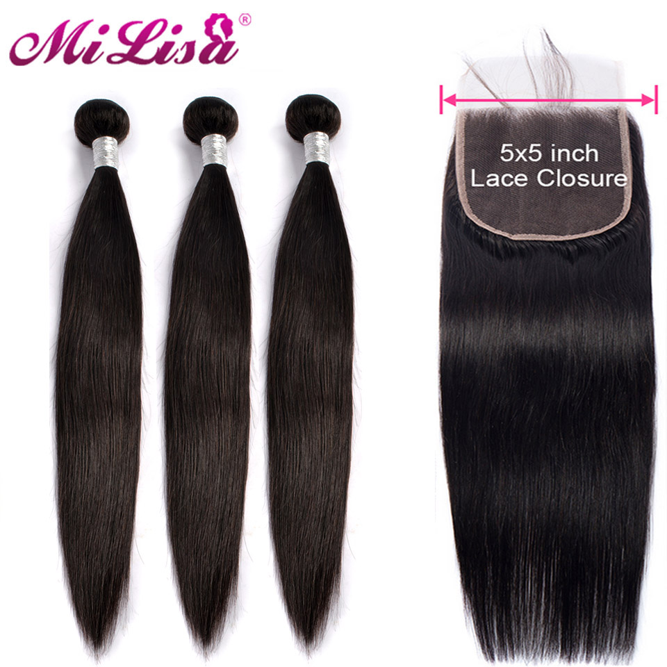 5x5 Closure With Bundles Human Hair With Closure Malaysian Straight Hair 3 4 Bundles With Closure Free Shipping Natural Color