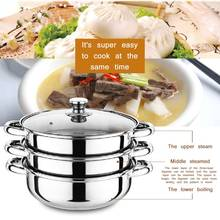 Steamer Pot Cooking-Pots Gas-Stove Induction-Cooker Three-Layer Soup Thick for Universal