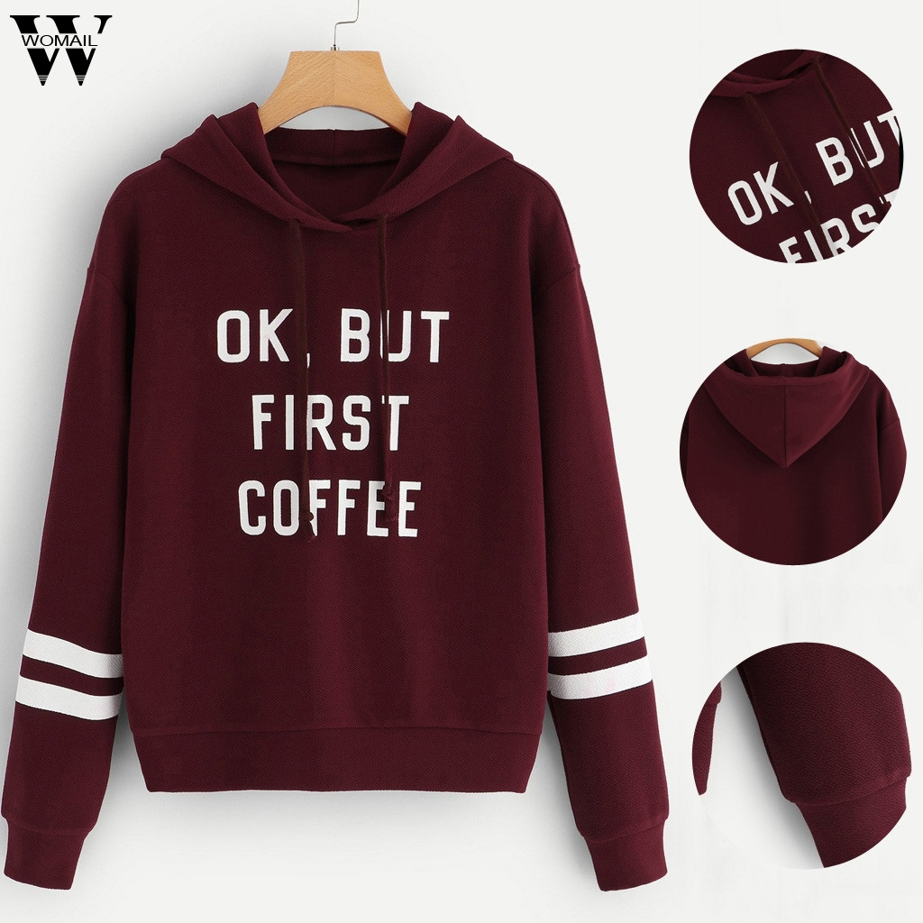 Womail Sweatshirts Women's Fashion Letter Hooded Pullover Tops Blouse Autumn Long Sleeve HoodieWomen Sweatshirts Sudadera XS-XL