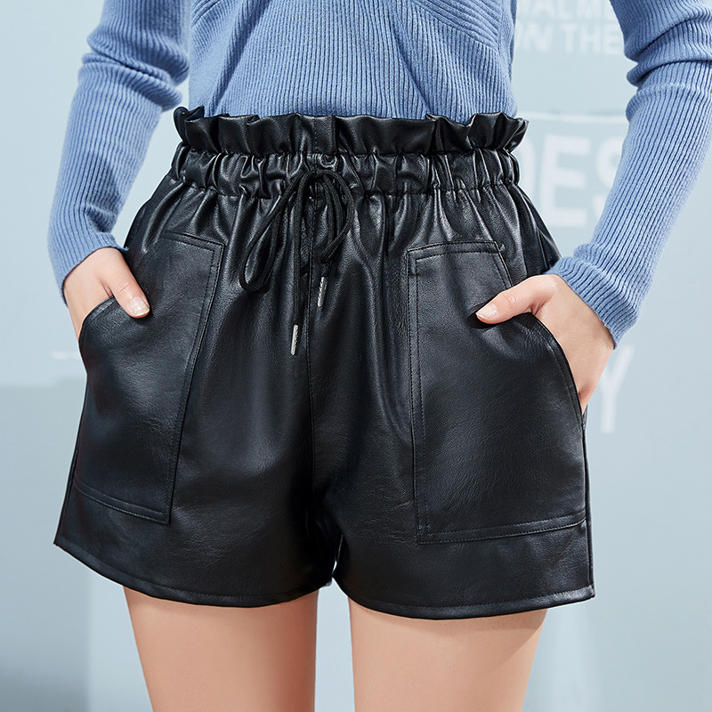 Woman's Leather Shorts Women's Autumn And Winter Clothing High Waist Wear Leather Loose Casual Wide Leg  Short