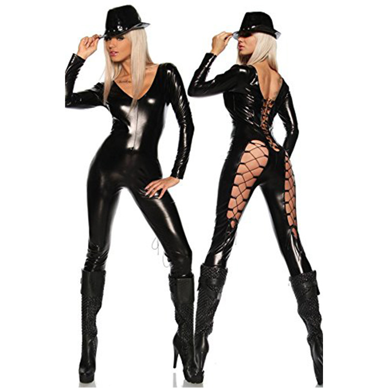 Shiny Sexy Batwoman Black Lace-Up Stretch PVC Wet Look Latex Catsuit Faux Leather Jumpsuit Adult Catwomen Costume Jumpsuit image