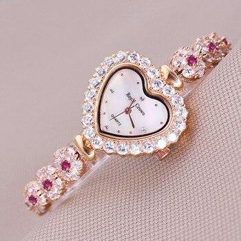 Luxury Crystal Jewelry Lady Women's Watch Fashion Heart Hours Shell Dress Bracelet Clock Rhinestone Girl's Gift Royal Crown Box