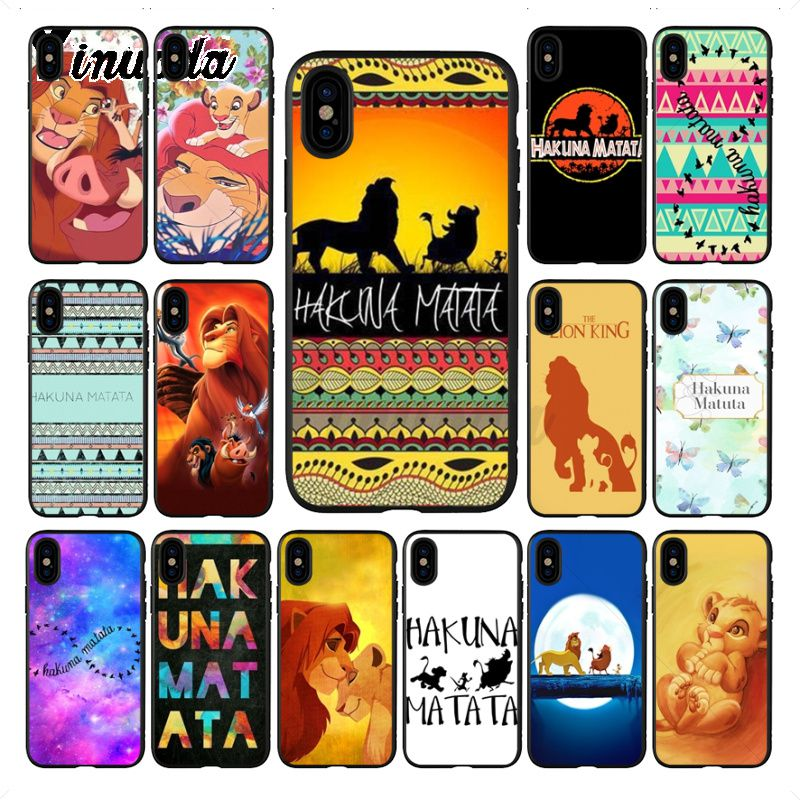 Yinuoda Hakuna Matata The <font><b>Lion</b></font> King DIY Painted Phone <font><b>Case</b></font> for <font><b>iPhone</b></font> 7plus <font><b>6S</b></font> 8Plus X xs max xr 5S 11pro <font><b>case</b></font> cover image