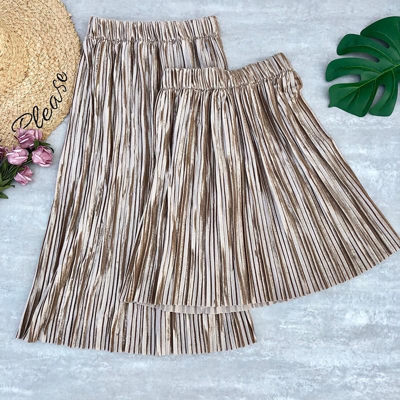 Women's Skirt Autumn Winter Velvet Pleated Skirts Fleece Midi Skirts Stretched Skirts Womens Faldas Jupe Femme