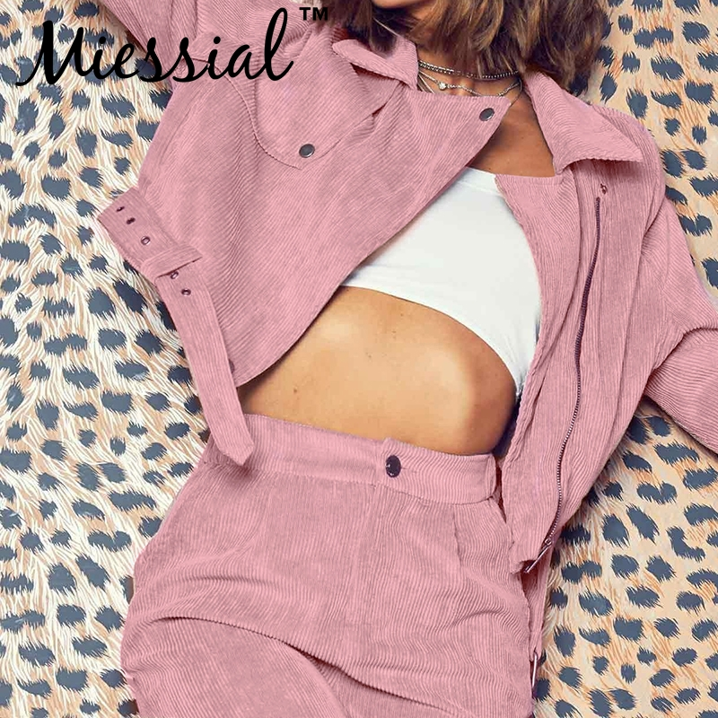 Miessial Pink corduroy streetwear short   jacket   coat Women winter autumn belt casual   basic     jackets   2019 Ladies fashion chic coat