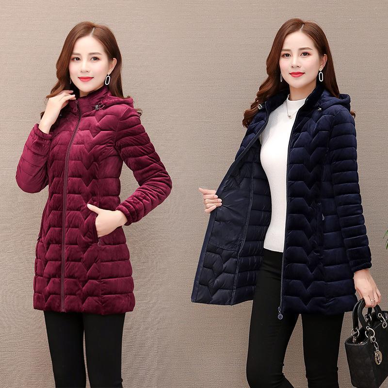 Cotton gold velvet womens   parka   jacket long navy blue Outwear hooded jacket winter warm jacket doudoune femme hiver Plusc size