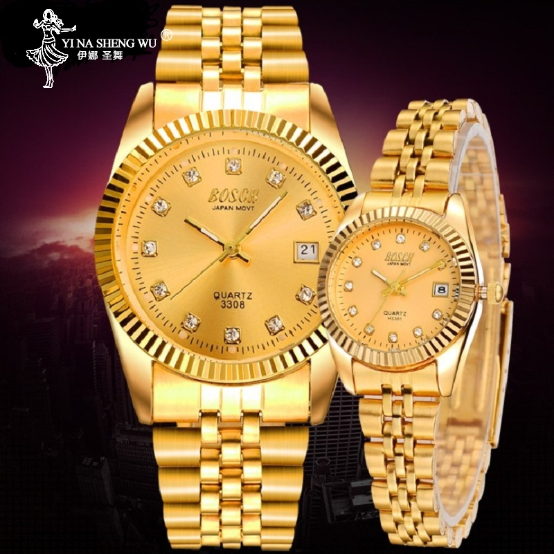 Fashion New Couples Wristwatches Mens Gold Luxury Brand Women Dress Watch Clock Reloj Watch Men For Gift Relogios Masculinos