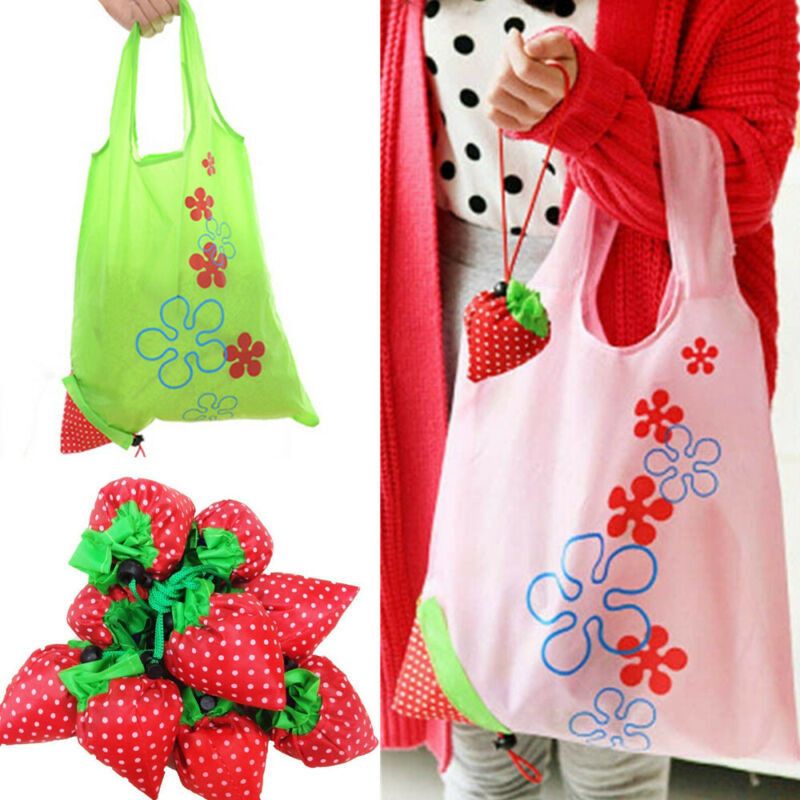 Strawberry Shape Portable Eco Recycle Reusable Supermarket Shopping Bags Handbag Tote Pouch Bag Storage Bag Enviroment Friendly