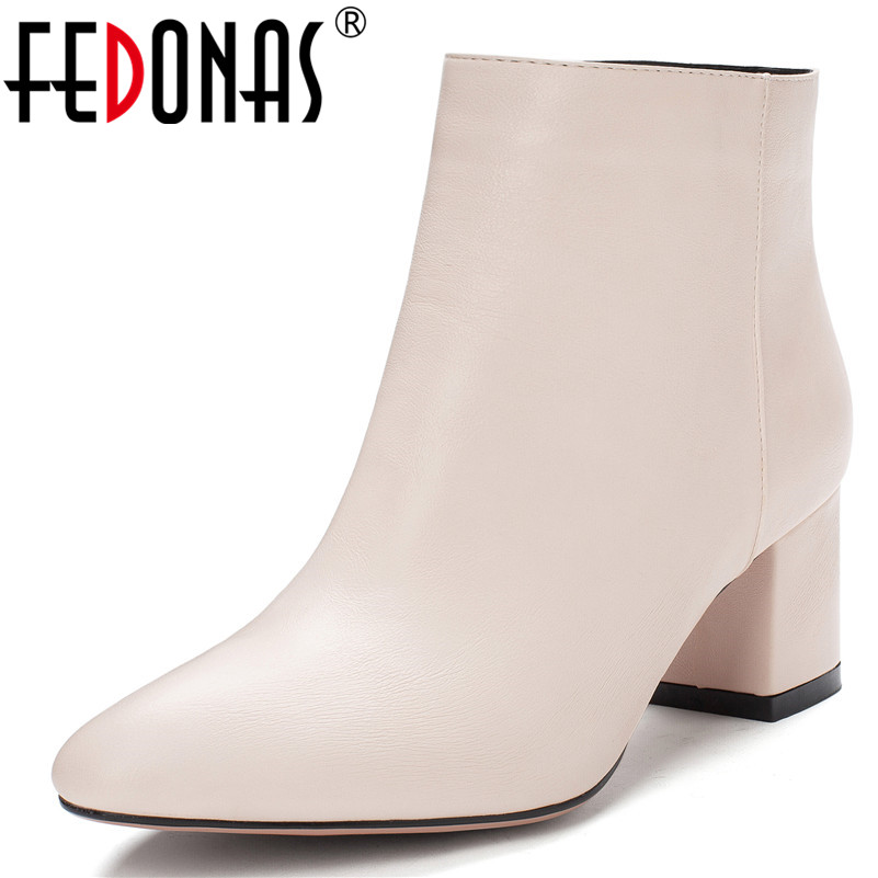 Women Ankle Boots Pointy Toe Square Heels Zipper Chelsea Elegance Party Shoes