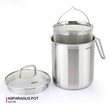 Fissman 3.5L Asparagus pot with Glass Lid and 304 Stainless steel Steamer Basket
