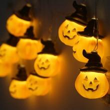 цены Fairy Lights Halloween Pumpkin Shape Led Lights Decoration Pumpkins Smile Face Festival String Light Luces Led Decoracion