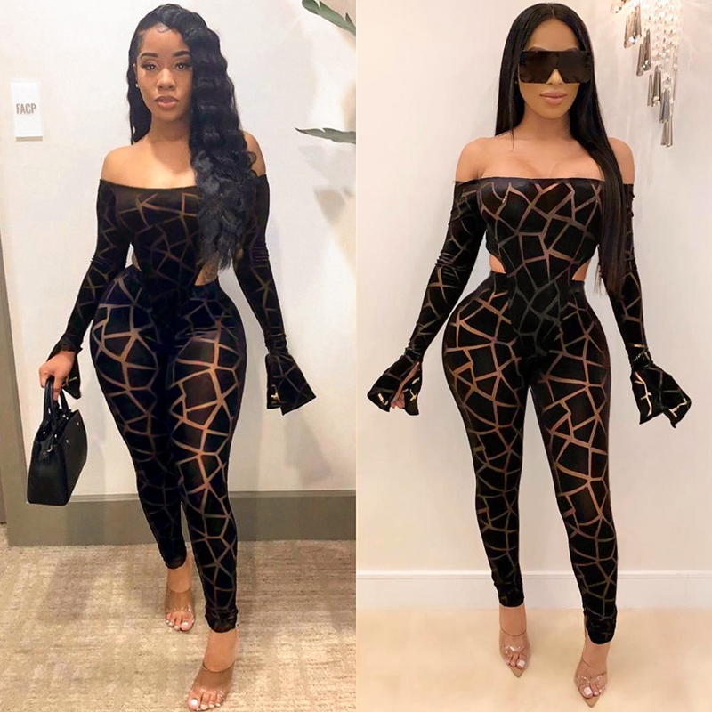 ZKYZWX Sexy Club Birthday Outfits Mesh Sheer Plaid Two Piece Set Women Rave Festival Clothing Bodysuit And Pant Matching Sets