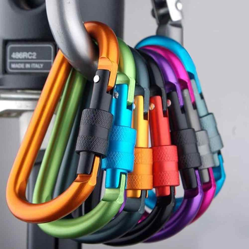 5pcs Bold 8Cm With Lock D-Type Carabiner Quick Hanging Carabiner Hanging Buckle Aluminum Alloy With Lock