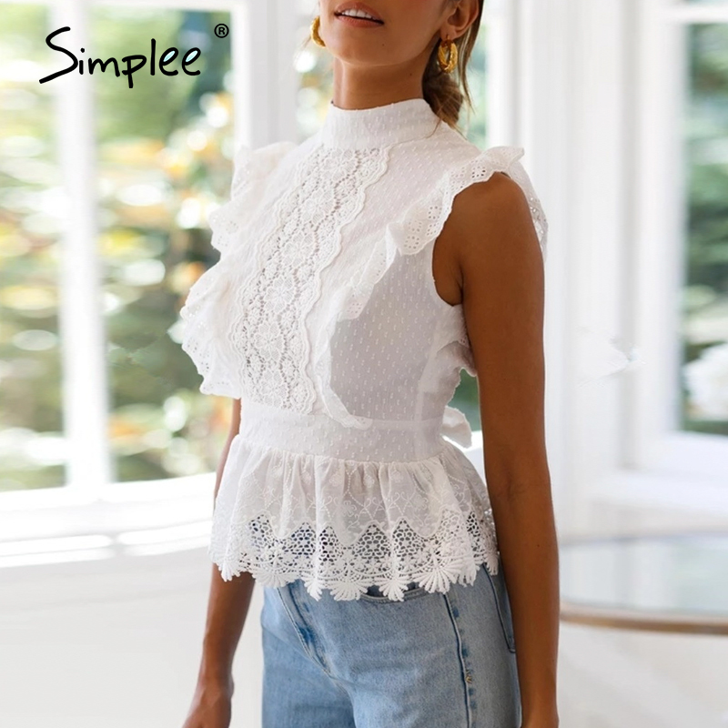 Image 3 - Simplee Backless lace embroidery women tank tops Ruffled hollow out peplum tops female summer style Streetwear ladies white topsTank Tops   -