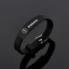 Black Stainless Steel Silicone Medical Alert ID Bracelet DIABETIC EPILEPSY SOS