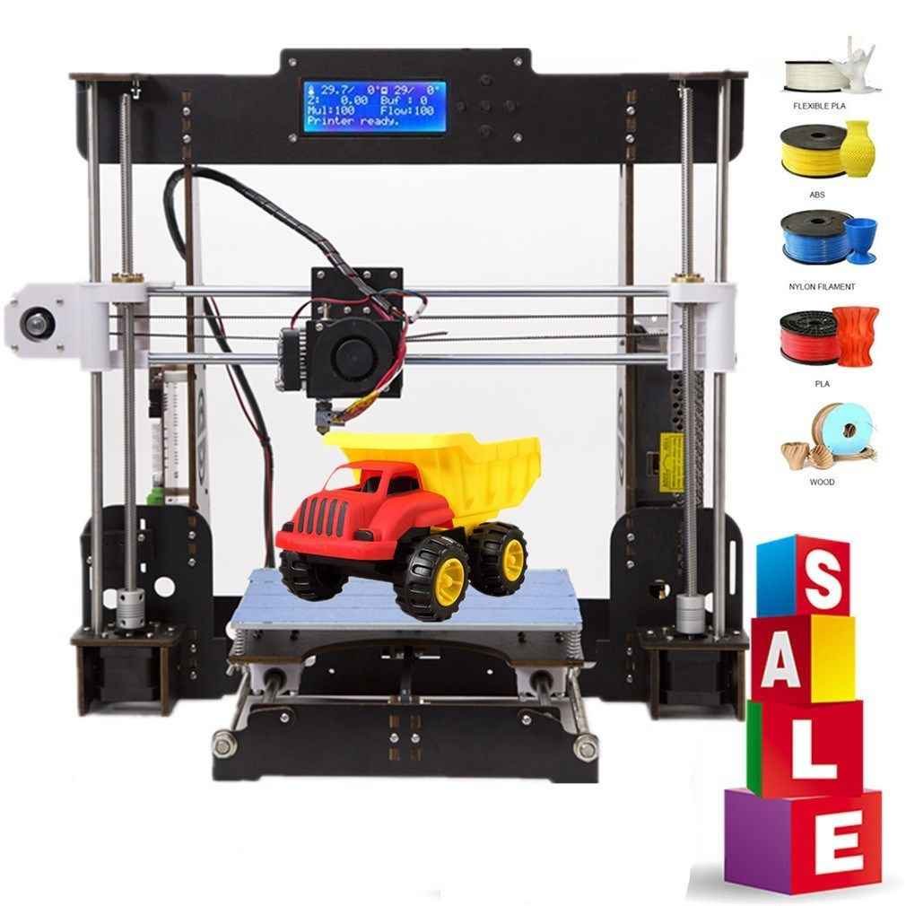 Impresora 3D A8, tablero de aviación/acrílico Prusa i3 Reprap MK8, extrusor Heatbed 220x220x240MM, kit de impresora 3d UK USA Stock