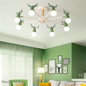 Nordic macaron antler chandelier modern LED chandeliers bedroom dining room iron and wood deer head Hanging Lamps decor Fixtures
