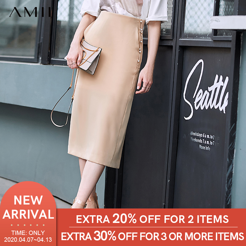 Amii Minimalist Chiffon Split Mid-Long Skirt Summer Women Pearl Buckle High Waist Solid Slim Fit Female Skirt 11960059