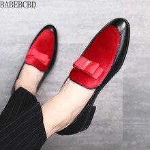 BABEBCBD/Мужская официальная обувь; свадебные модельные мужские туфли на плоской подошве с бантом; Нежные Мужские Повседневные слипоны; черные лакированные кожаные красные замшевые лоферы