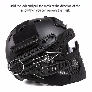 Image 5 - TAN Tactical Helmet with Mask Airsoft Helmet Paintball Fullface Protective Face Mask Helmet for Sports CS Military Helmet