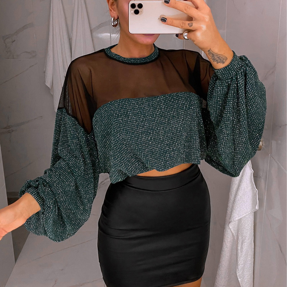 Mesh Patchwork Blouse Shirt Women 2020 Spring Long Lantern Sleeve Perspective Kitted Tops Ladies Cropped Tee Shirts Bulsas D30
