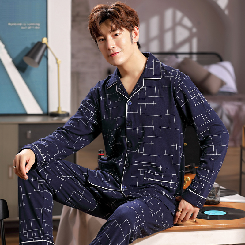 New Print Pyjamas Sets For Men Sleepwear Men's Pure Cotton Cardigan Lapel Suit Youth Wear Casual Mens Fall/winter Home Clothes