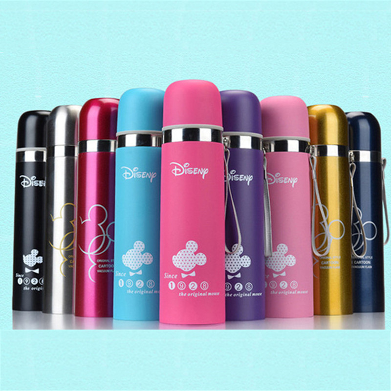 350mL 500mL Disney Mickey Cartoon Cup Vacuum Insulation Water Bullet Bottle Stainless Steel Thermos Cups Portable Outdoor Bottle