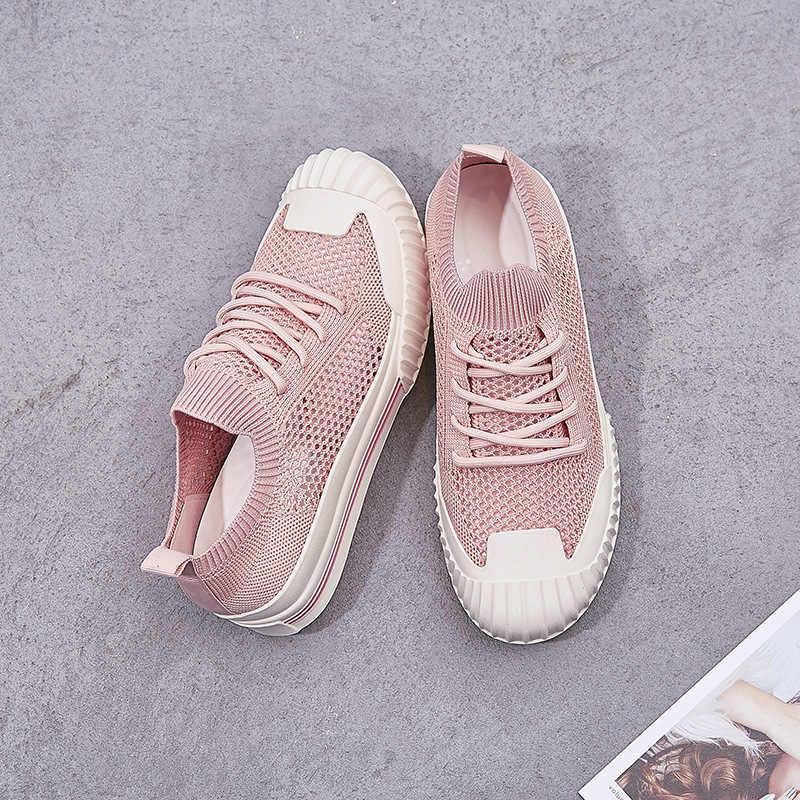 2019 Mesh Ademend Toevallige Vrouwen Schoenen Zomer Hollow Out Loafers Flats Schoenen Wit Zwart Lace Up Platte Sneakers Chaussure Femme