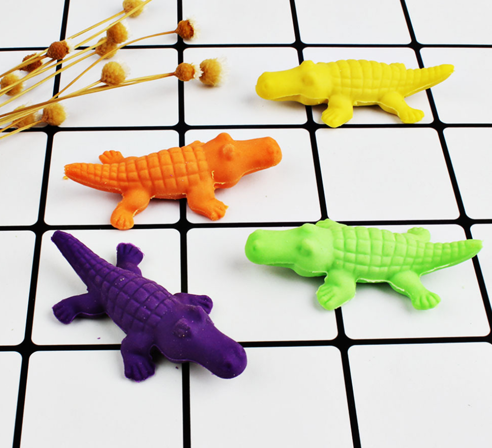 4pcs Cute Cartoon Crocodile Alligator Kawaii Animal Pencil Eraser Set Stationery School Office Pen Rubber Supplies Kids Gift