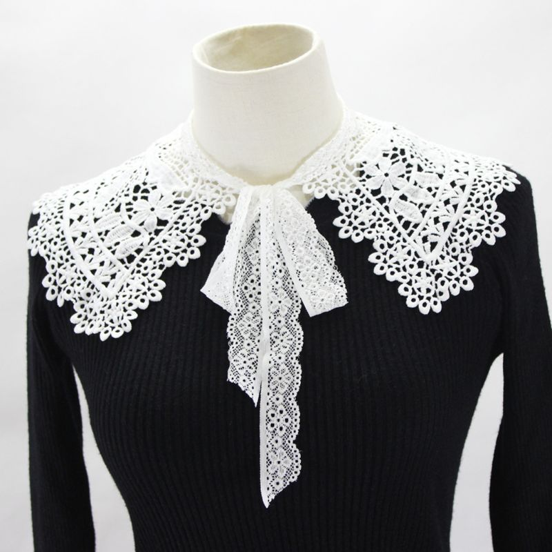 2019 Pastoral Style Womens Doll Fake Collar Hollow Out Floral Lace Half Shirt Shawl