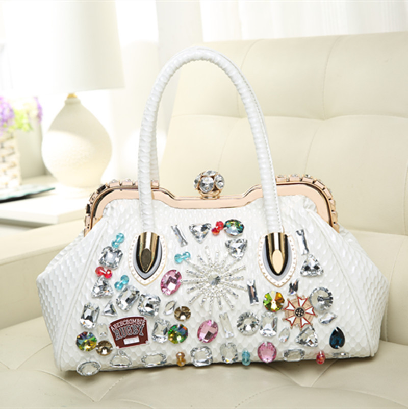 2020 new Women color diamond bag with diamond clip with drill handbags rhinestone female evening bag oblique shoulder bags lock| | - AliExpress