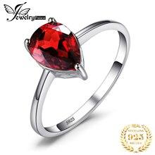 JewelryPalace hakiki Garnet yüzük Solitaire 925 ayar gümüş yüzükler kadınlar için nişan yüzüğü gümüş 925 taşlar takı