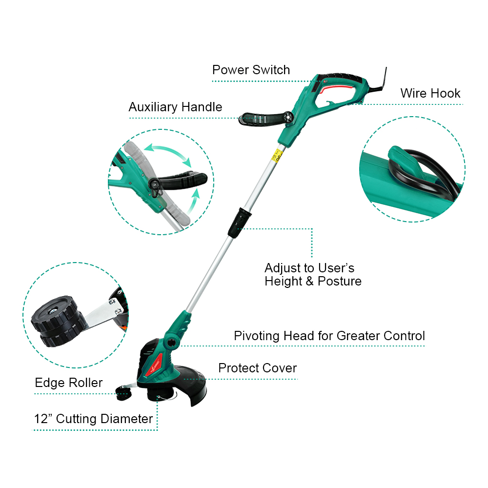 Tools : Clearance Sale 550W Lectric Grass Trimmer Cleaner Grass Cutter Machine Line Trimmer Ajustable Shaft Rotation Tube Garden Tool