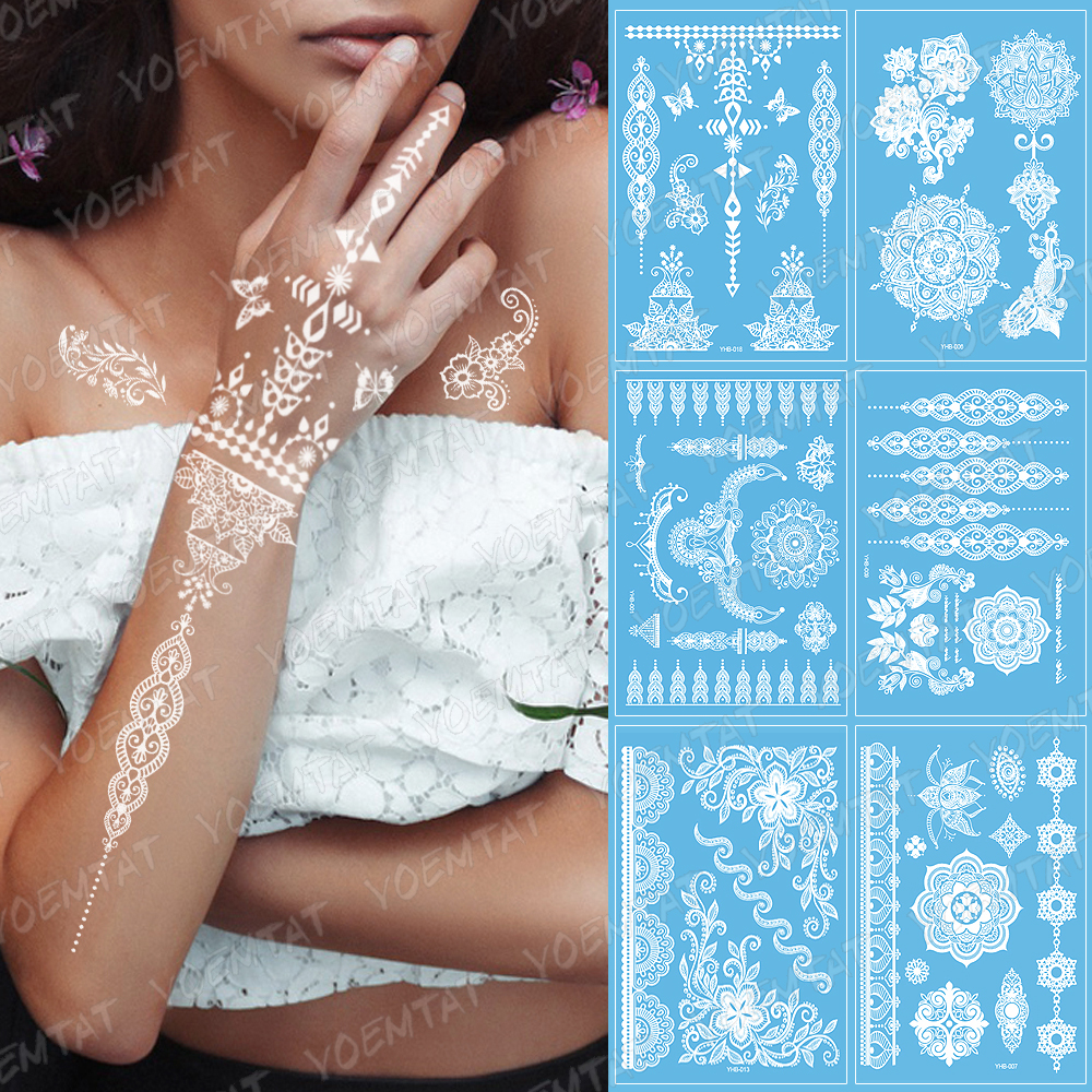 1piece White Henna Tattoo Sexy Lace Stocking Arabic Indian Rose Butterfly Bow Flash Wedding Art Paint Body Art On Hand Arm Leg