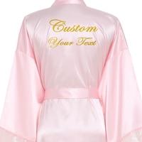 Women Sexy Long Large Plain Bride Kimono Silk Robe Satin Night Dress Wedding Bathrobe Lace Robe Ladies Gowns Custom Your Text