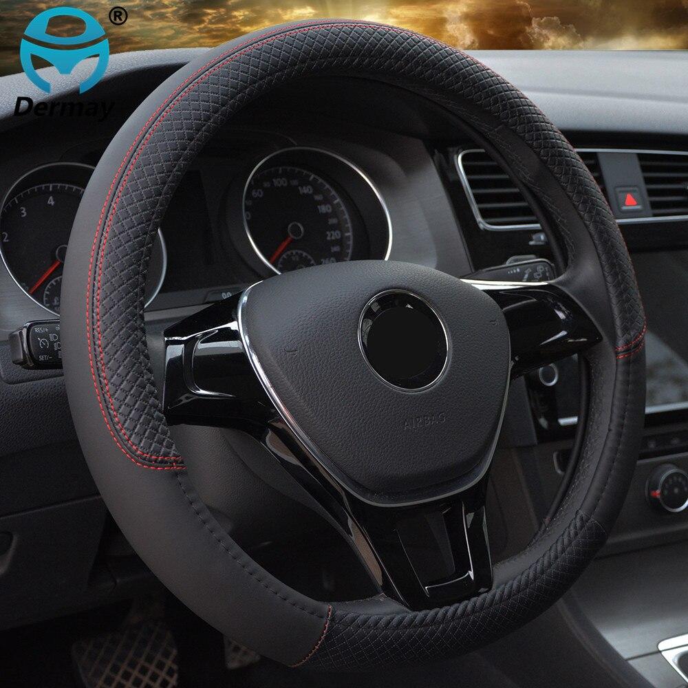 Спортивные Чехлы рулевого колеса автомобиля Противоскользящий кожаный чехол на руль авто-Стайлинг защитный чехол на руль