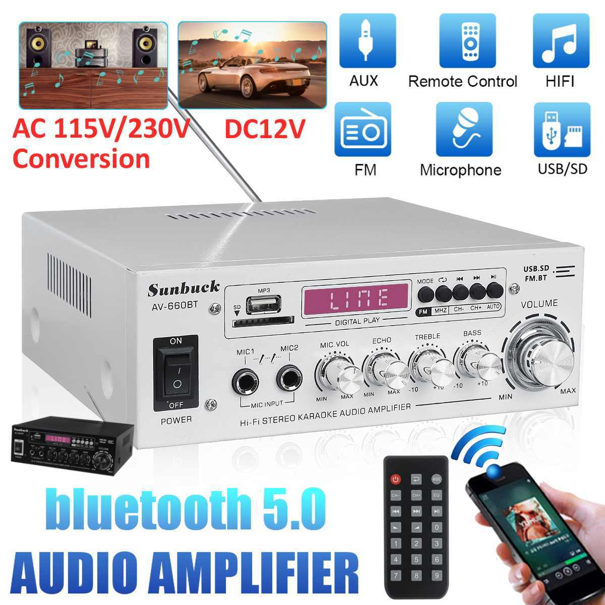 2000W AV amplificateur de puissance 2.0 canaux Audio Home cinéma amplificateurs DC 12V 110V/220V Support EQ FM SD USB 2 Mic 5.0 bluetooth