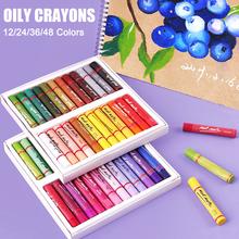 Kredki 12 24 36 48 kolory olej pastelowe rozpuszczalne w wodzie kolorowe Graffiti długopis do malowania kredki biuro szkolne artykuły artystyczne kredki Pen tanie tanio CN (pochodzenie) 12 kolory Crayons 12 kolory box Other Zestaw