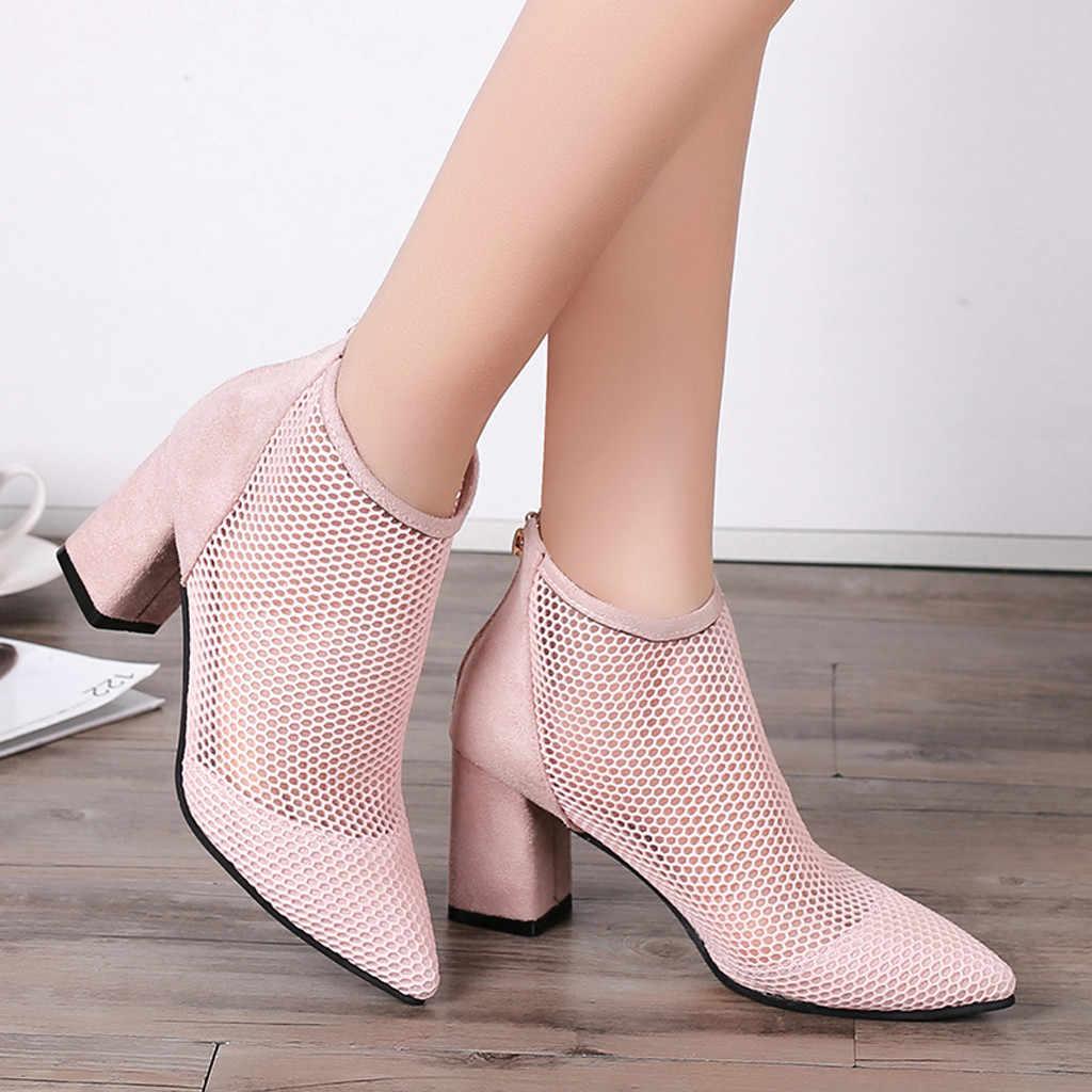 Dantel Hollow Chelsea yarım çizmeler kadınlar için seksi fermuar sivri burun tıknaz yüksek topuklu kısa çizmeler bayan ayakkabı botas feminina