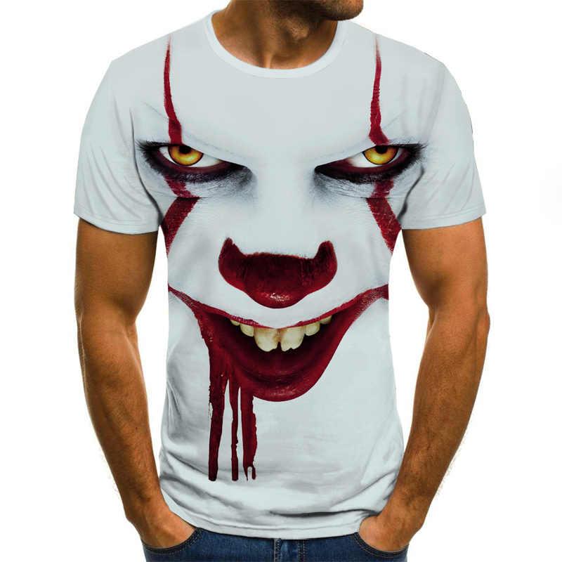 2020 新クールピエロ男性のtシャツおかしいピエロ顔トップス 3Dプリントファッション半袖ラウンドネックシャツ流行ストリート