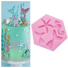 Mini Mermaid Tail Starfish Silicone Mold Fondant Chocolate Cake Decorating Tool DIY Handmade Clay Resin Soap Baking Mould M2797